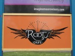 Roots Cafe, a nice pumpkin color sign!